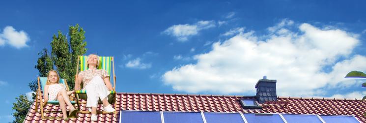 vrouw en kind op dak wagner foto